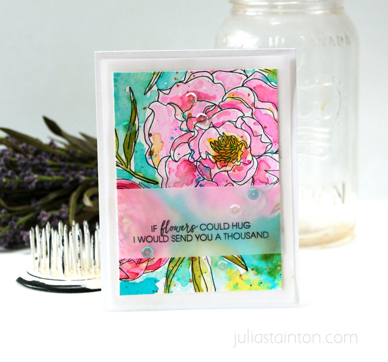Mondo Peony Watercolor Card by Julia Stainton featuring Ellen Hutson LLC Essentials by Ellen