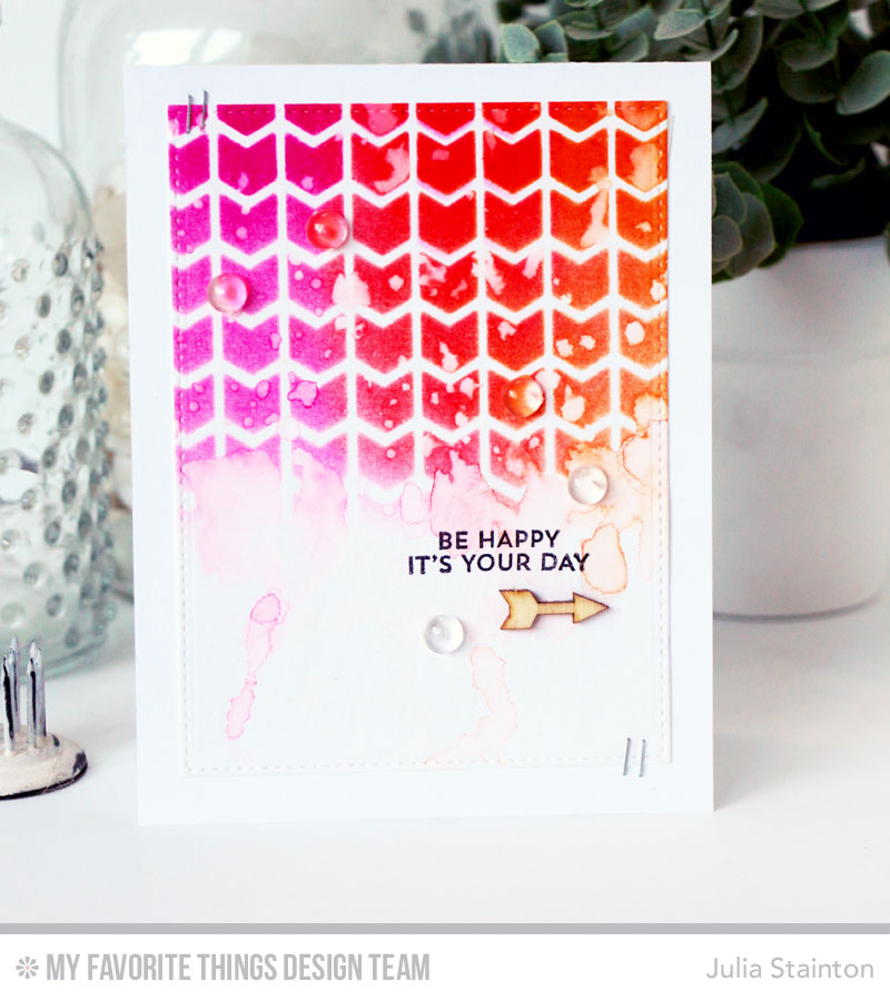 Be Happy Watercolor Stencil Card by Julia Stainton featuring MFT Stamps