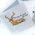 Dearest Friend Holiday Deer Card by Julia Stainton featuring vellum and layered stamping