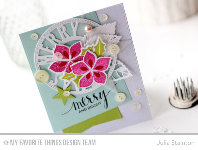 Merry and Bright Christmas Card by Julia Stainton featuring MFT Stamps Blueprints Die-namics