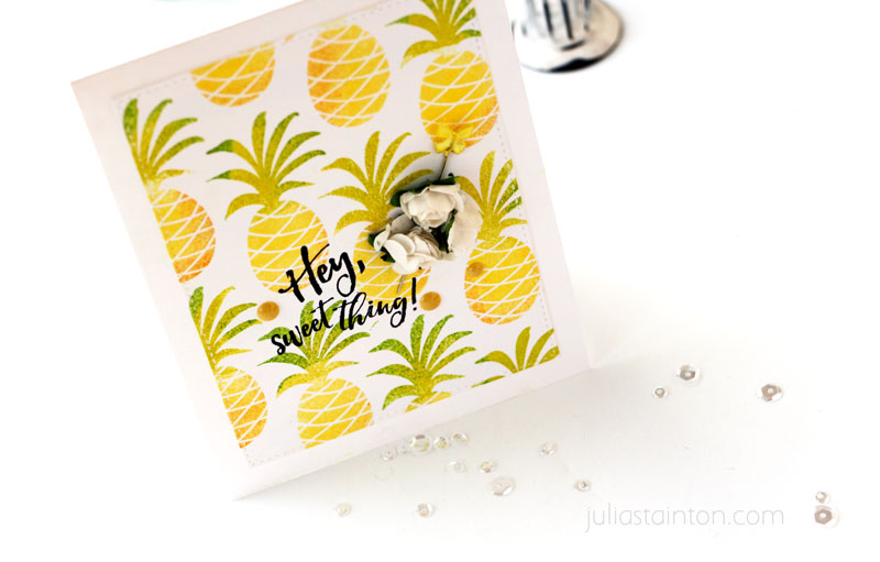 Hey Sweet Thing PIneapple Card by Julia Stainton featuring Essentials by Ellen