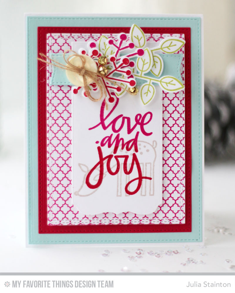 Love and Joy Christmas Card by Julia Stainton featuring MFT Stamps