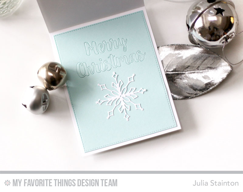 Stylish Snowflakes Christmas Card by Julia Stainton featuring MFT Stamps