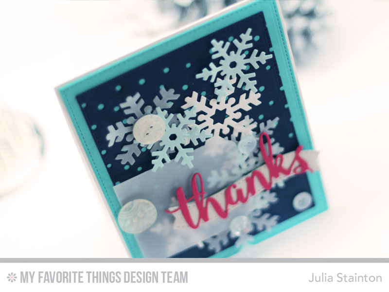 Snowfall thanks Card by Julia Stainton featuring MFT Stamps and MFTWSC303
