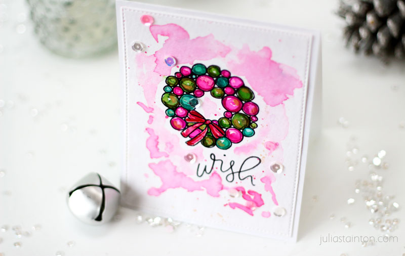 Pink Watercolor Wreath Christmas Card by Julia Stainton featuring Essentials by Ellen