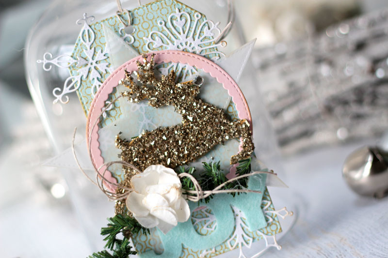 Leaping Deer Glitter Holiday Joy Tag by Julia Stainton featuring MFT Stamps and Essentials by Ellen