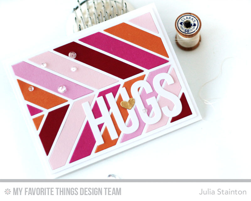 Big Hugs Cheveron Card by Julia Stainton featuring MFT Stamps