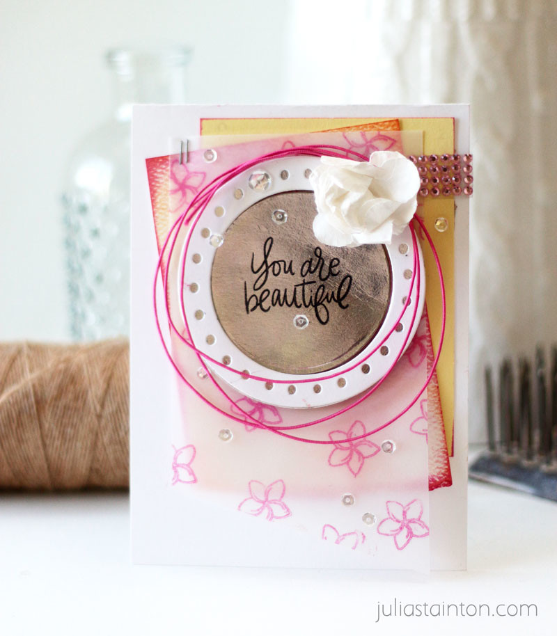 You are Beautiful Card by Julia Stainton featuring Essentials by Ellen stamps and dies from Ellen Hutson LLC