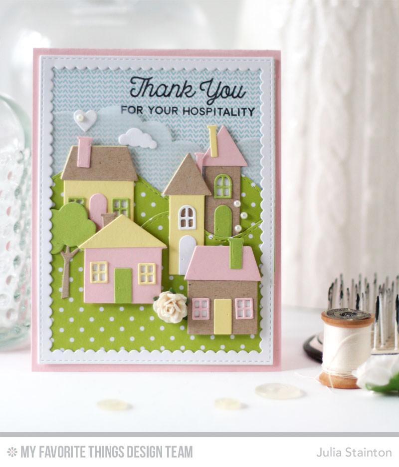 No Place Like Home Hospitality Thank You Card by Julia Stainton featuring MFT Stamps