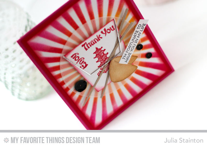 Chinese Takeout Asian Fortune Cookie Card by Julia Stainton featuring MFT Stamps
