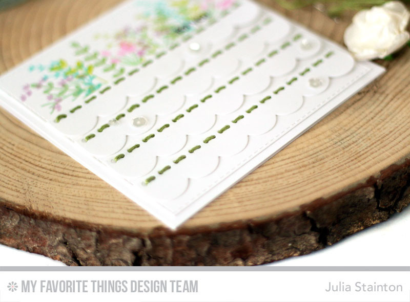 Stitching Scallops Card by Julia Stainton featuring MFT Stamps