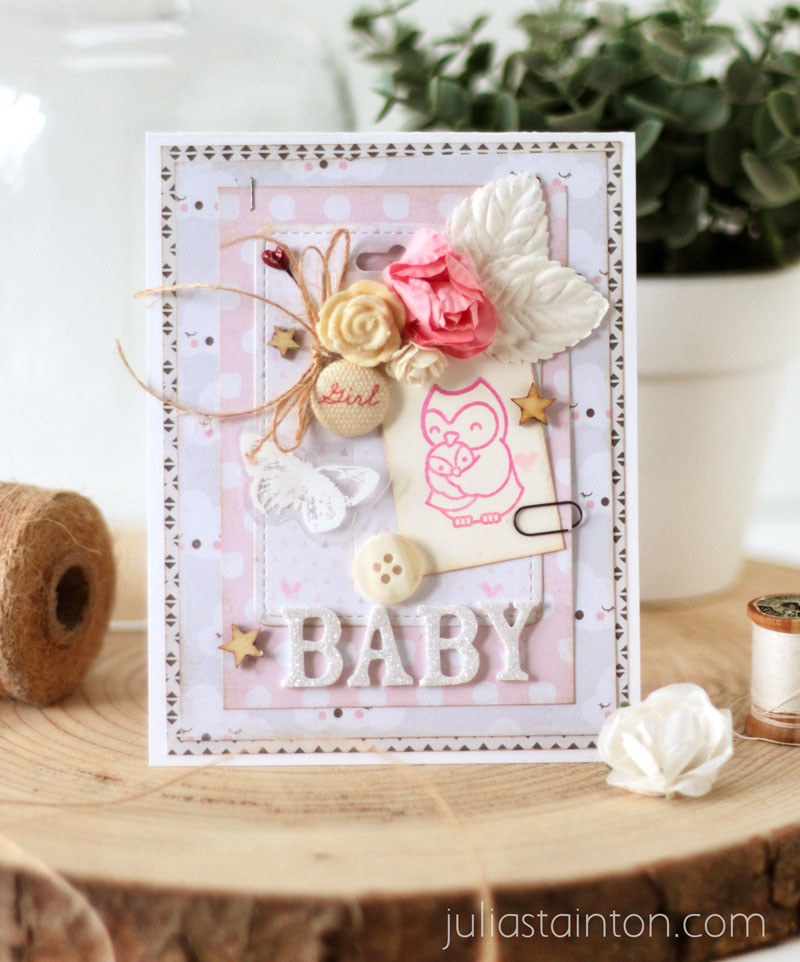 Sweet Baby Girl Card by Julia Stainton for Charity Blog Hop
