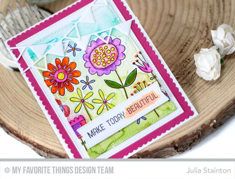 Watercolor Flowers Card by Julia Stainton featuring MFT Stamps