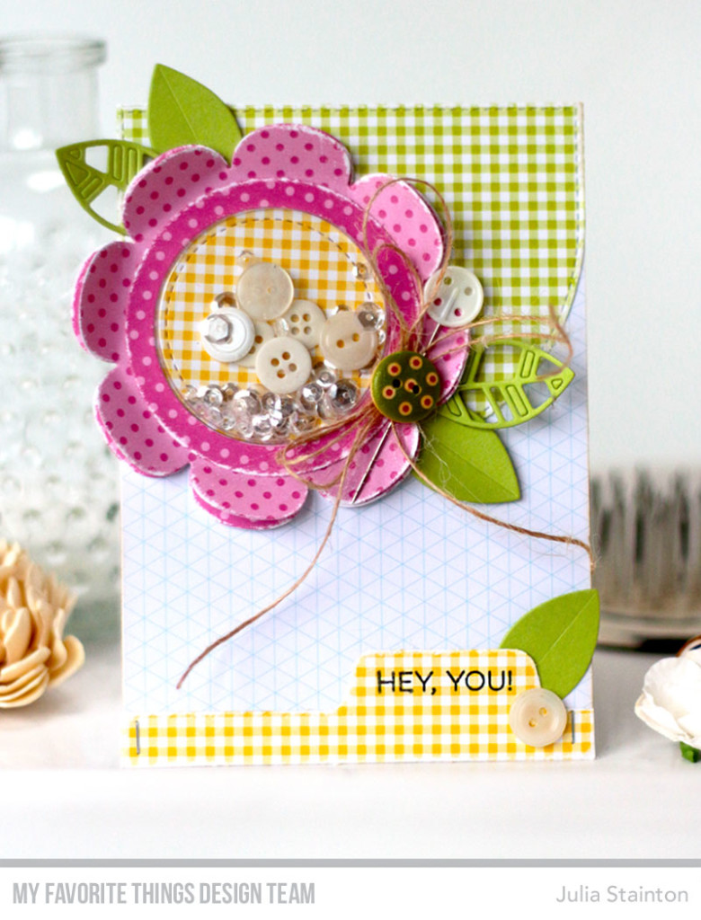 Sweet and Shabby Easy Flower Shaker Card by Julia Stainton featuring MFT Stamps