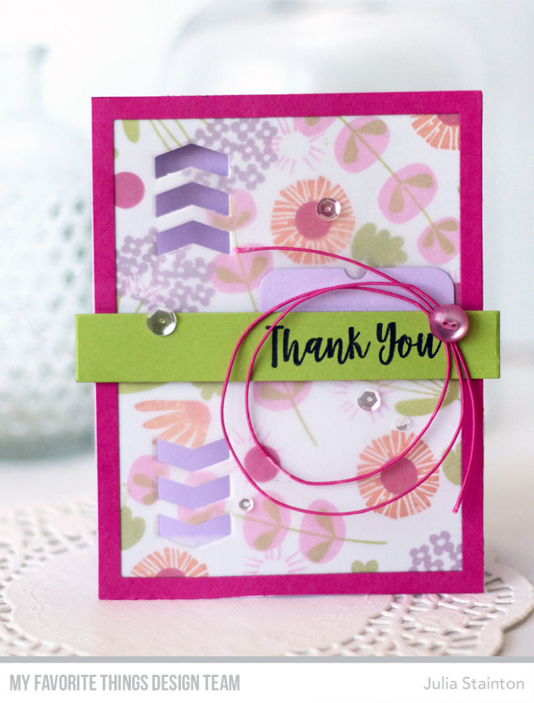 Layered Chevron Thank you Card by Julia Stainton featuring MFT Stamps Creative Construction with Blueprints