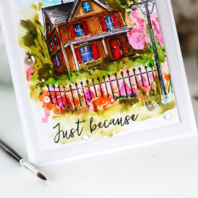 Watercoloring a Stamped Scene