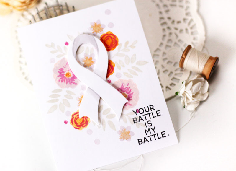 Breast Cancer Ribbon Card by Juila Stainton featuring Ellen Hutson LLC Breast Cancer Research Foundation set