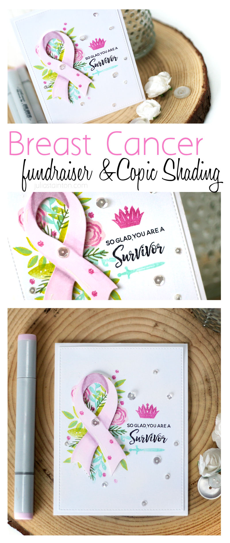 Courage Breast Cancer Fundraiser Stamp Set and Copic Marker Shading on Die-Cuts