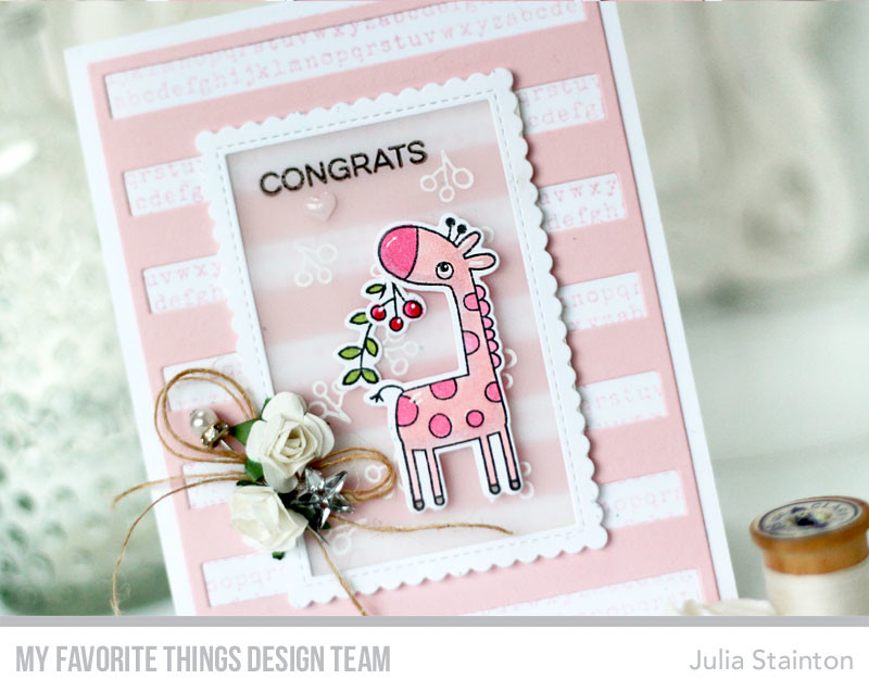 Giraffe Baby Girl Card by Julia Stainton featuring MFT Stamps