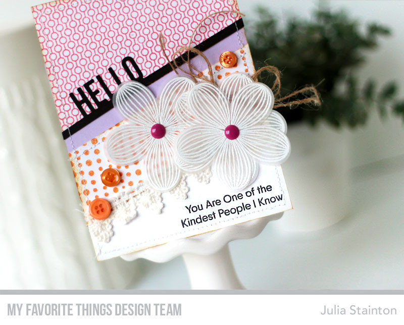 Hello Stamping on Vellum Card by Julia Stainton featuring MFT Stamps