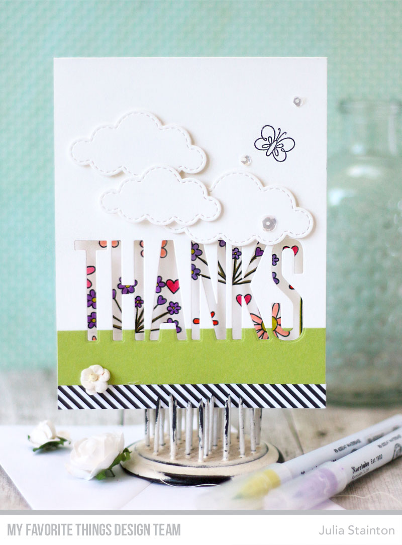 Big Thanks Peekaboo Window Card by Julia Stainton featuring MFT Stamps