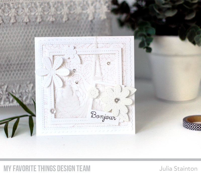 Bonjour White on White Card by Julia Stainton featuring MFT Stamps