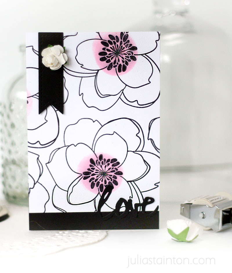 Color Pop Black and White Magnolia Card by Julia Stainton featuring Essentials by Ellen
