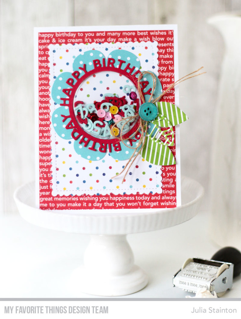 Birthday Confetti Shaker Card by Julia Stainton featuring MFT Stamps