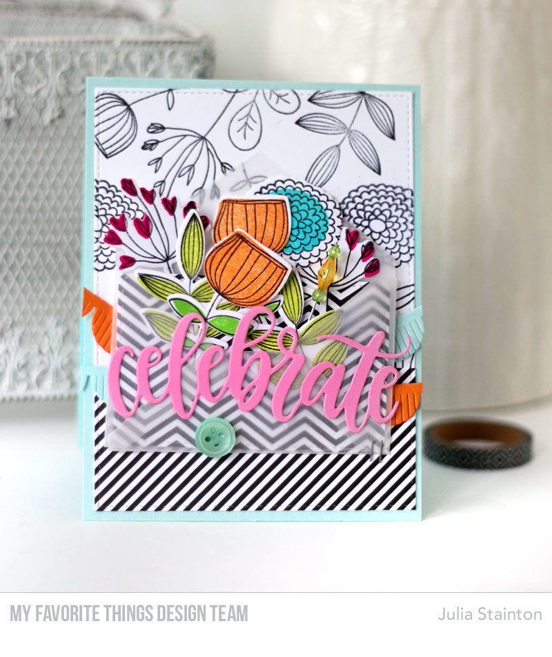 Sketchy Flowers Stamping Card by Julia Stainton featuring MFT Stamps