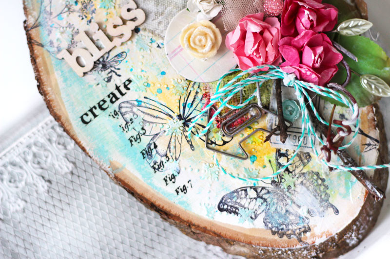 Bliss Mixed Media Wood Slice Altered Art by Julia Stainton