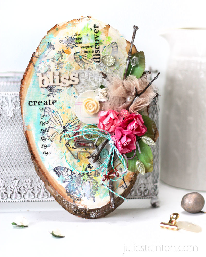 Mixed Media Wood Slice Altered Art by Julia Stainton