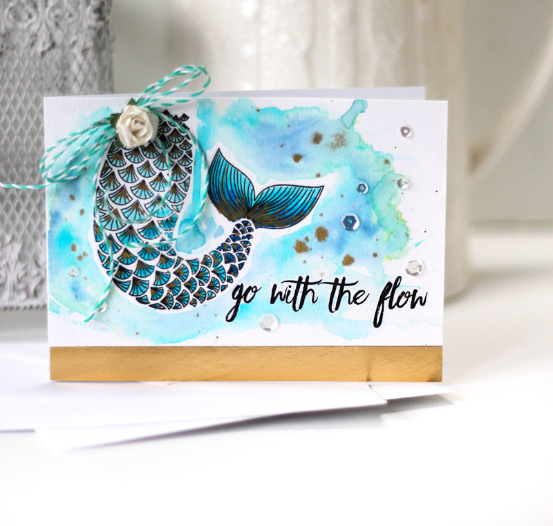 Go with the Flow Mermaid Card by Julia Stainton featuring watercolor and Ellen Hutson LLC