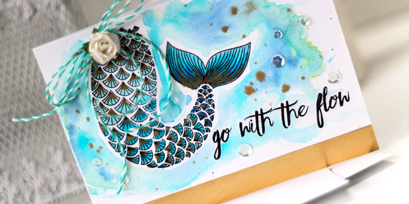 Go with the Flow Golden Mermaid CArd by Julia Stainton featuring Essentials by Ellen