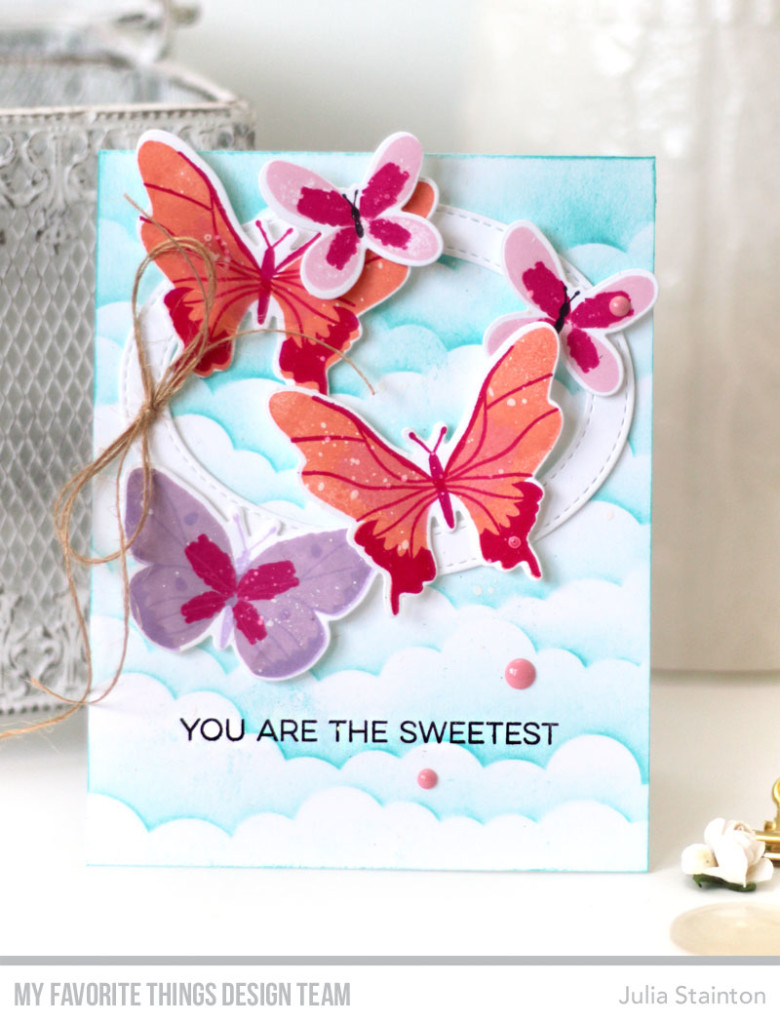 Sweet Butterflies Sky Card by Julia Stainton featuring MFT Stamps
