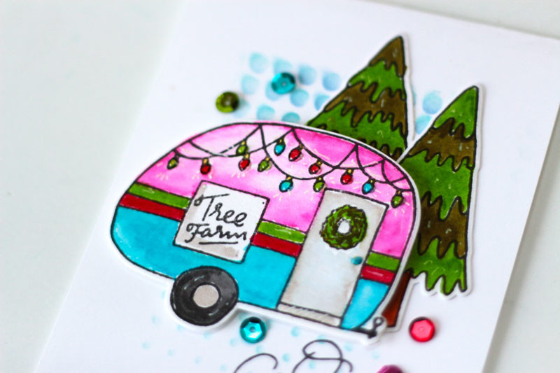 Oh Christmas Tree Card by Julia Stainton featuring Ellen Hutson LLC Essentials by Ellen Tree Farm