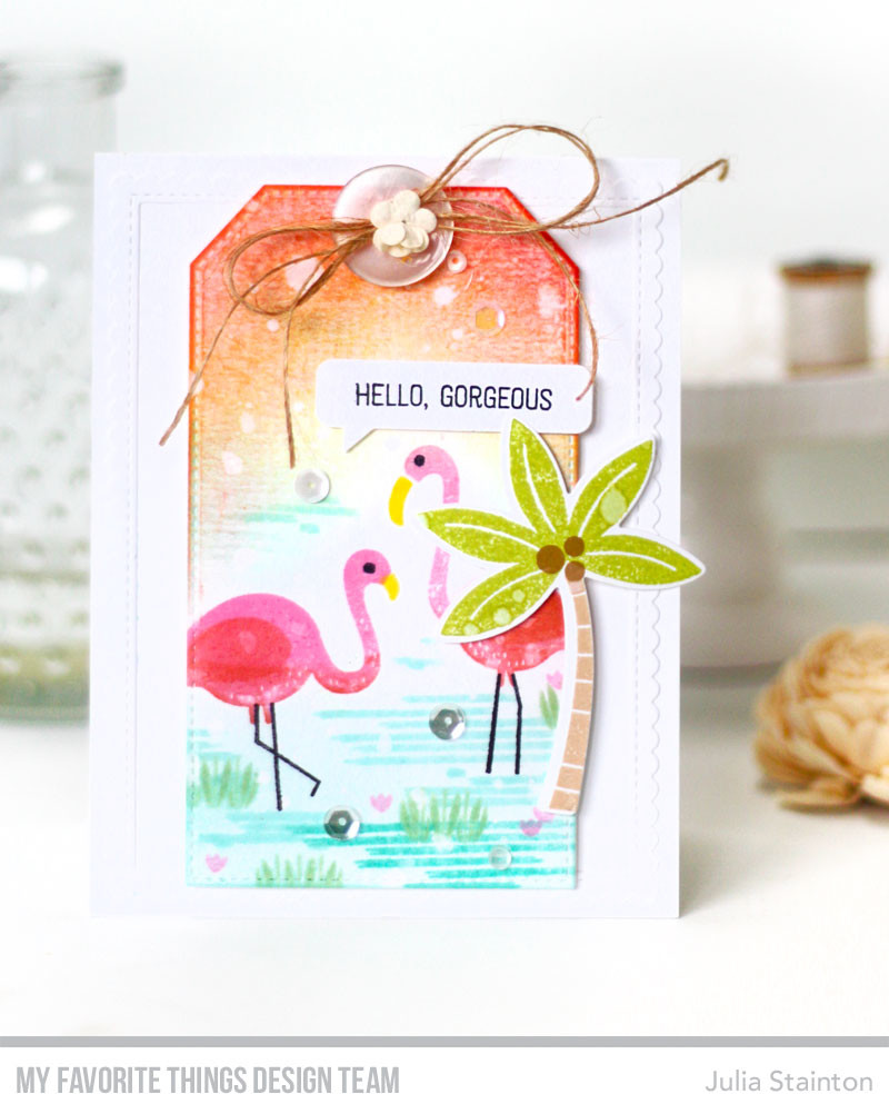 Hello Gorgeous Flamingo Stamped Card by Julia Stainton featuring MFT Stamps