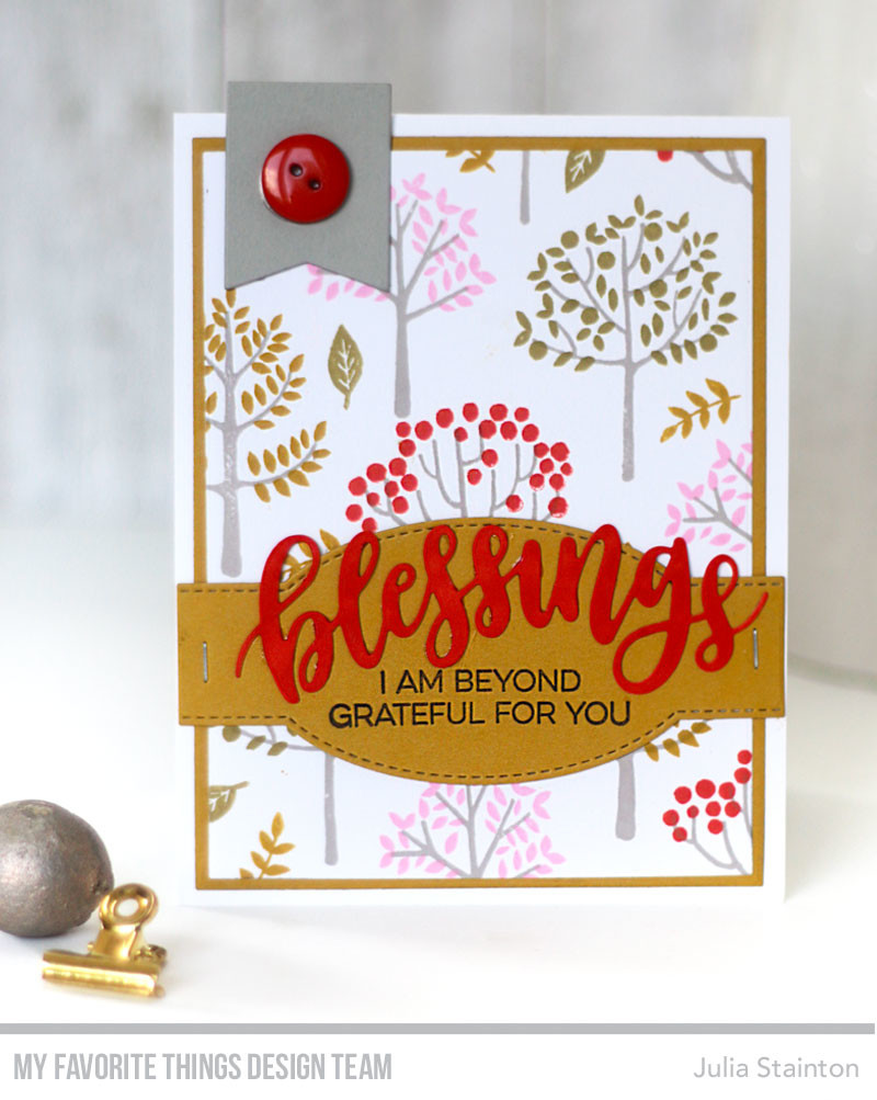 Blessings Stamped Trees Card by Julia Stainton featuring MFT Stamps