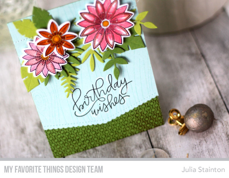Tropical Birthday Wishes Stamped Floral Card by Julia Stainton featuring MFT Stamps