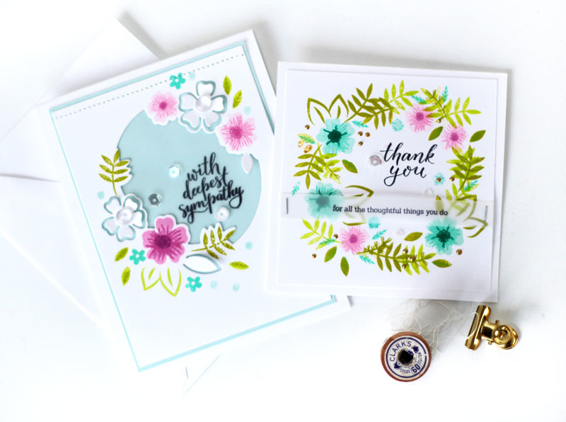 Say it with Florals Stamped Cards by Julia Stainton featuring Pinkfresh Studio
