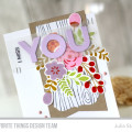 Miss You Stamped Flowers Card by Julia Stainton featuring MFT Stamps