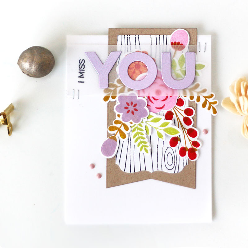 Miss You Floral Stamps Card by Julia Stainton featuring MFT Stamps