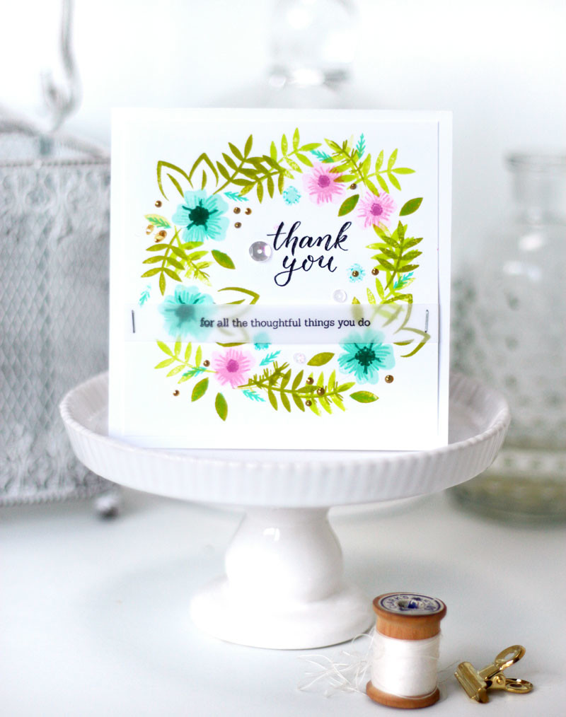 Say it with Florals Stamped Wreath Thank You Card by Julia Stainton featuring Pinkfresh Studio
