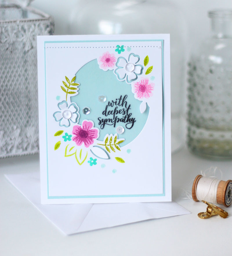 Say it with Florals Stamped Sympathy Card by Julia Stainton featuring Pinkfresh Studio