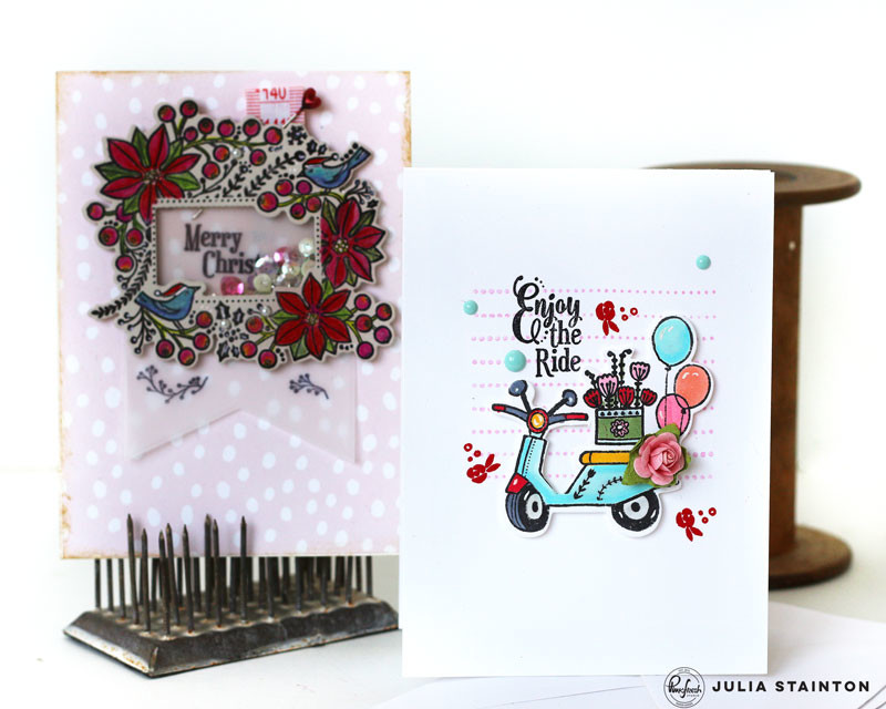 Pinkfresh Studio Stamp Release Card duo by Julia Stainton