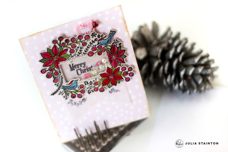 Christmas Shaker Card by Julia Stainton featuring Pinkfresh Studio
