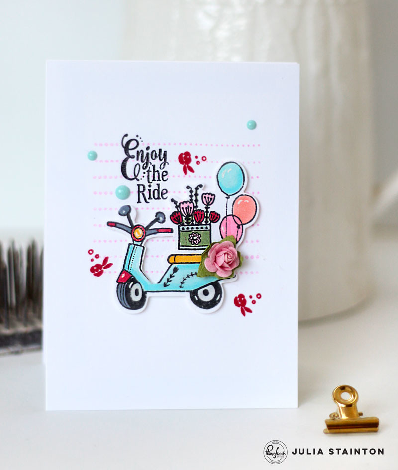 Enjoy the Ride Scooter Card by Julia Stainton featuring PInkfresh Studio and Copic Markers