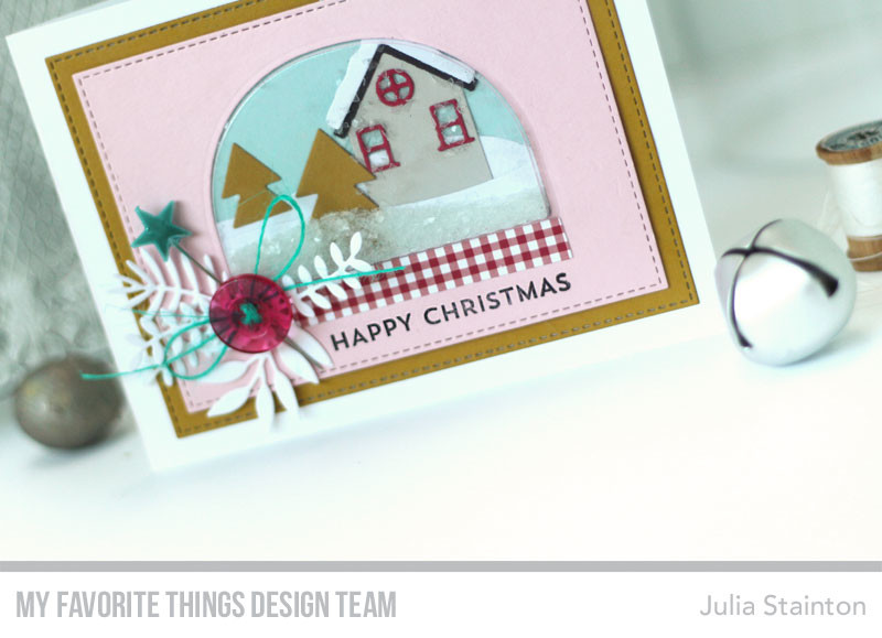 Happy Christmas Snow Globe Shaker Card by Julia Stainton featuring MFT Stamps