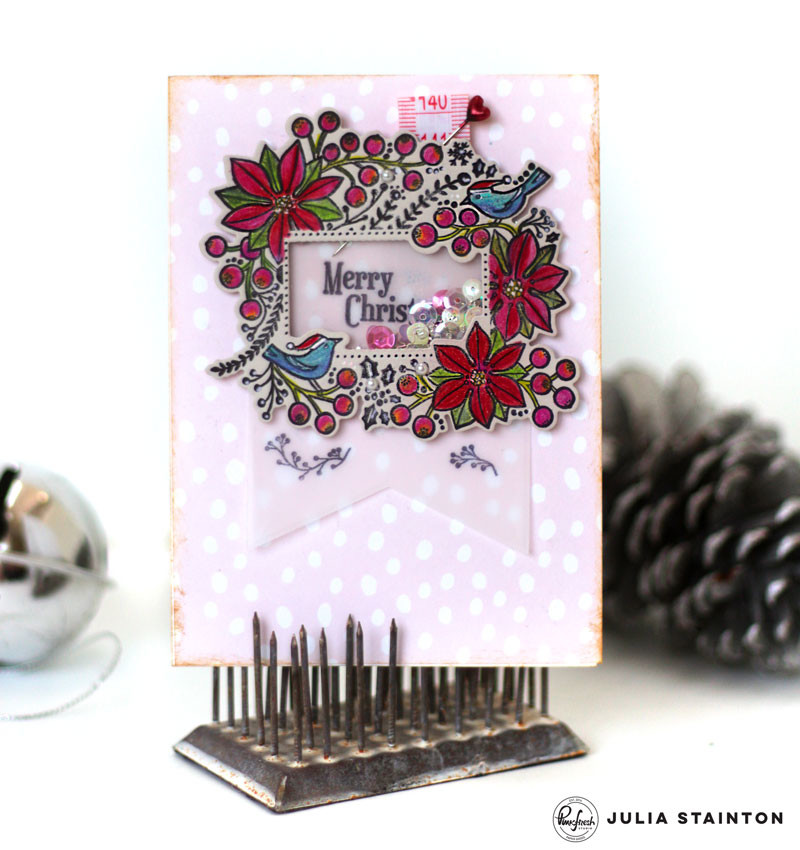 Merry Christmas Shaker Card by Julia Stainton featuring Pinkfresh Studio