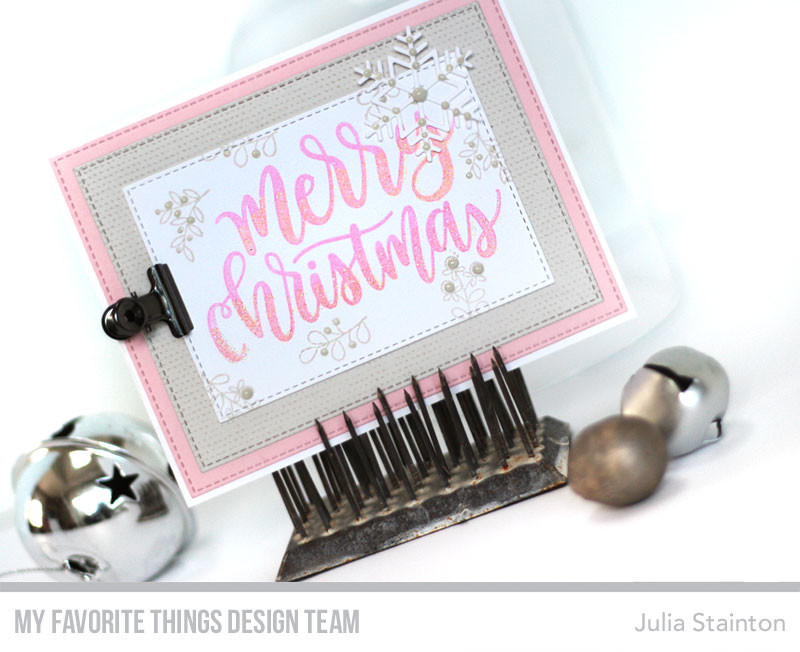 Pink & Grey Christmas Card by Julia Stainton featuring MFT Stamps