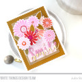 Shades of Pink Floral Stamped Smile Card by Julia Stainton featuring MFT Stamps